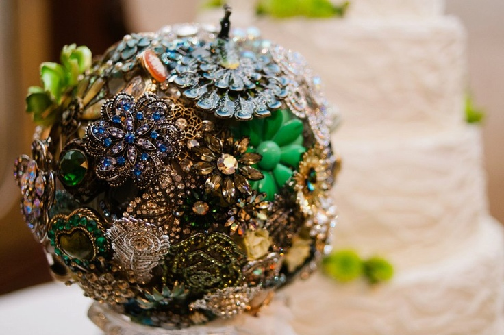 Peacock inspired Brooch Bouquet by The Ritzy Rose