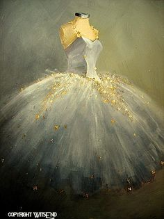 The Dance of The Moon Vintage Ballet Ballerina Tutu Costume Original Painting