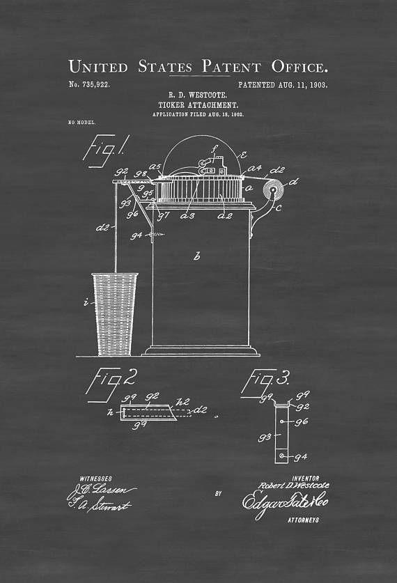 Stock Ticker Attachment Patent 1903 - Patent Prints Stock Ticker Patent Banker Gift Stock Broker Gift Stock Market Patent by PatentsAsPrints