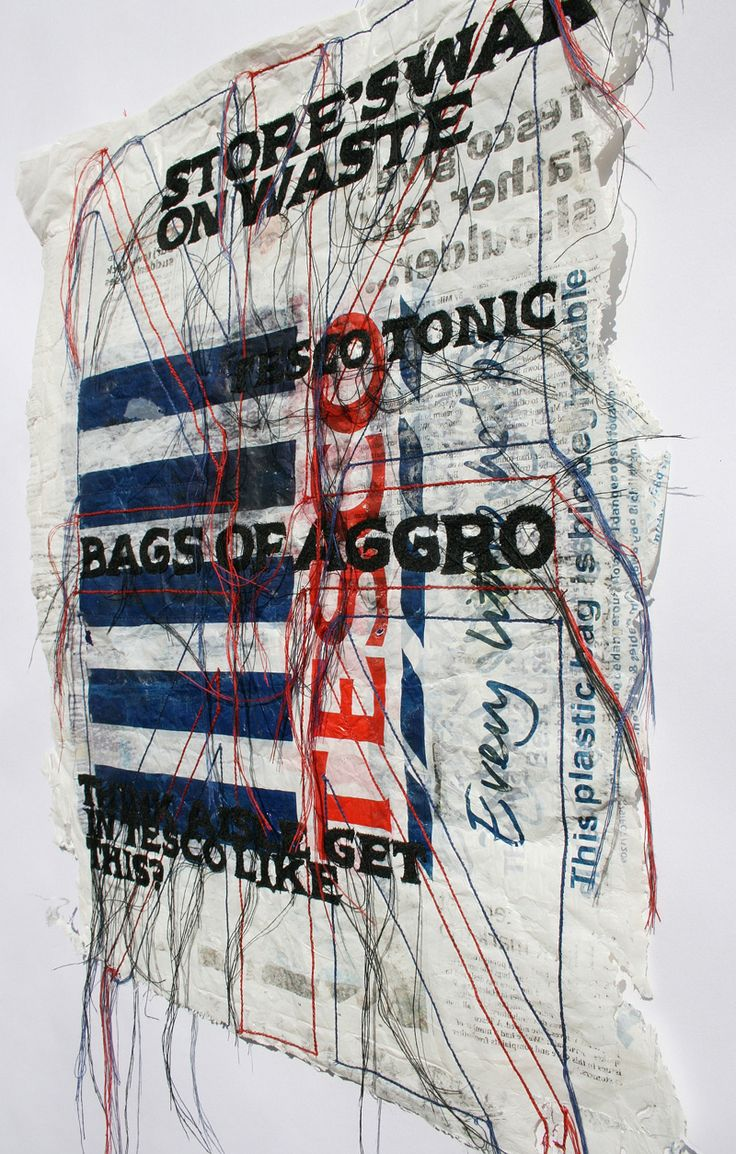 Bags of Aggro - Kirsty Whitlock mixed media fiber art http://www.kirstywhitlock.com/ #stitching