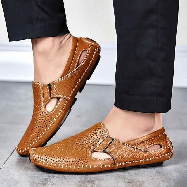 Gran Tamaño de Los Hombres Zapatos de Conducción de Cuero Genuino Suave de Buena Calidad Los Hombres holgazanes Cómodos Marrón Amarillo Azul Blanco Más El Tamaño 45 46 47