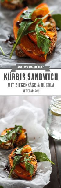 Dieses vegetarisches Kürbis Sandwich mit Hokkaidokürbis, Ziegenkäse und Rucola schmeckt lecker und ist ein idealer Snack oder ein gesundes und schnelles Mittagessen bzw. Abendbrot! #Sandwich #Snack #Kürbis