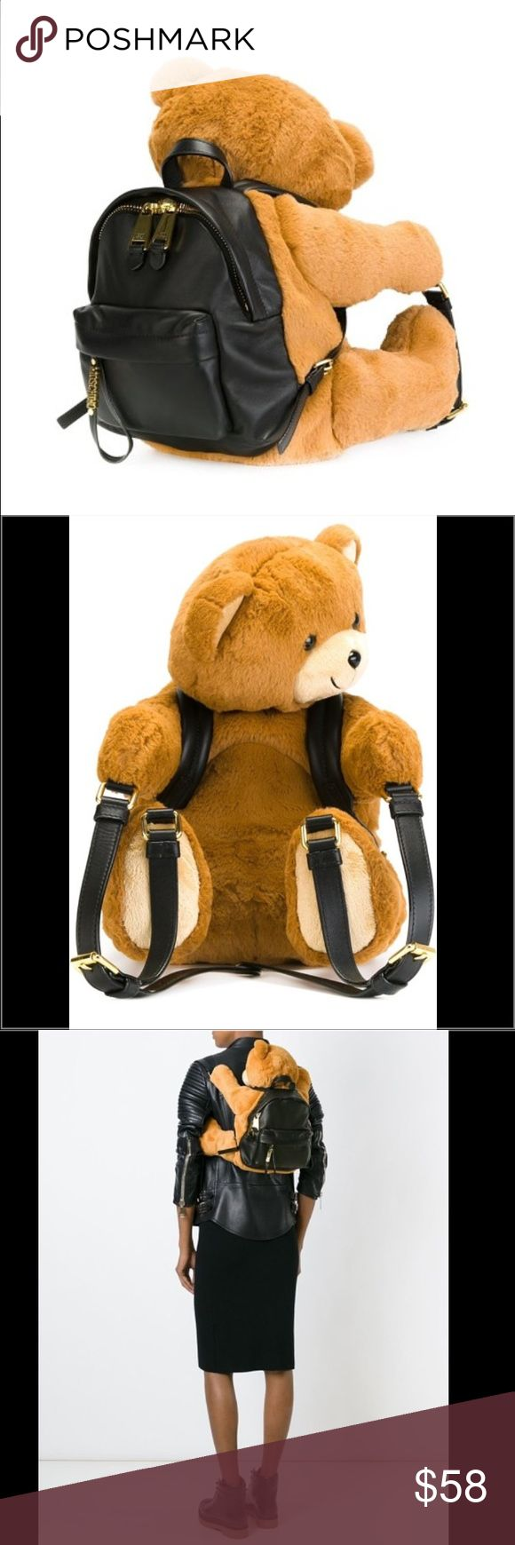 Moschino style NWT teddy bear backpack! Brand new Moschino style teddy bear back pack! So cute and adorable, so fun, you'll never want to put him down!:) comes in small and large sizes, and retails $1800 on the Moschino site. Get it here on sale only $48 Or $38 on m! Please ask and we can post 4 you..Teddy bear comes w attached leather backpack, great for cell phones, wallet, etc! Bags Backpacks