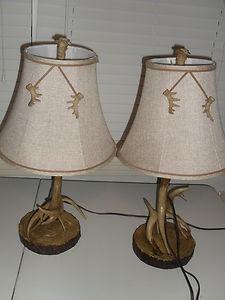 Deer Hunting Decor | Two 2 Matching Replica Deer Antler Table Lamps Hunting Decor | eBay
