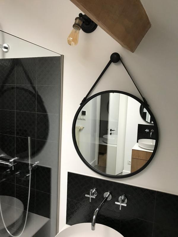 Miroir Rond Barbier Noir L 39 X H 39 Cm Leroy Merlin Miroir Entree Miroir Rond Salle De Bains Idee Salle De Bain