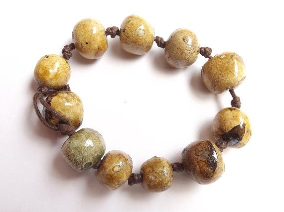 11 Ceramic beads glossy glaze bead raku by BlueBirdyDesign on Etsy, €11.00