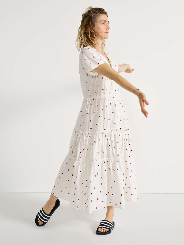 aed55042e550 Embroidered Button-Front Tiered Midi Dress in Fresh Strawberries. A breezy  tiered midi dress with adjustable ties at the waist—cinch them in for  definition ...