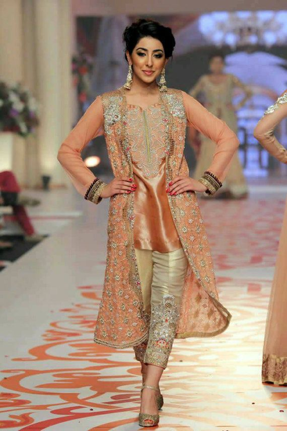 Zainab Chottani Beige and peach dress by IrmaDesign on Etsy