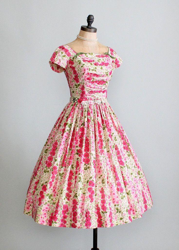 Vintage 1950s Pink Floral Garden Party Dress