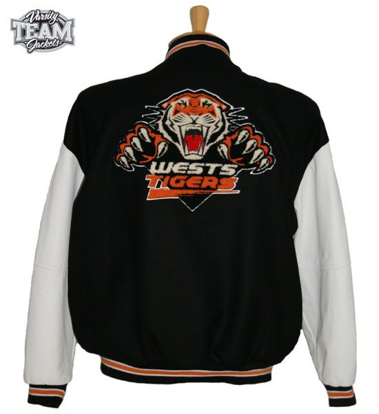 Wests Tigers NRL wool body and leather sleeves mixed chenille and embroidery varsity jacket back by Team Varsity Jackets. www.facebook.com/TeamVarsityJackets  www.teamvarsityjackets.com.au