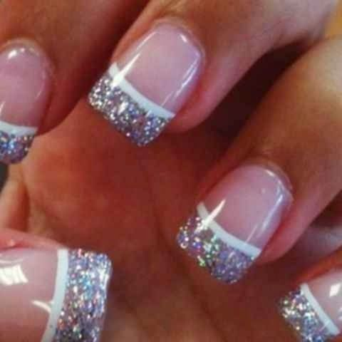French manicure with silver sparkles on the tips