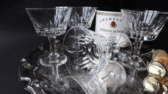 4 Crystal Champagne Glasses Coupes by CuriosAnCollectibles on Etsy