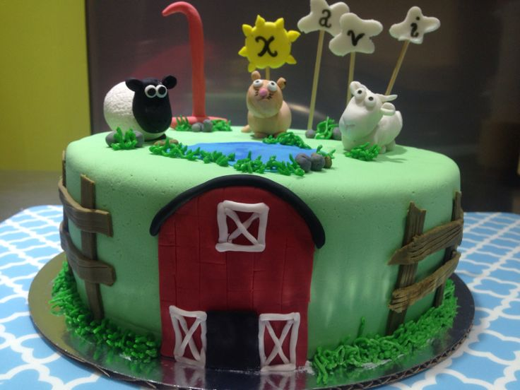 Farm Theme Cake Gumpaste Sheep Goat And Cat Speciality