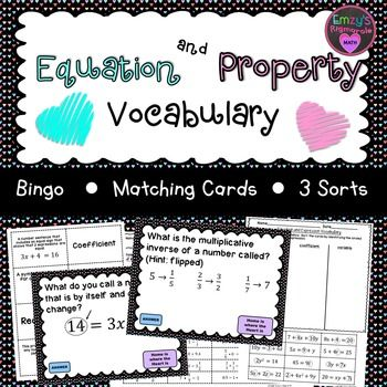 This+resource+has+many+activities+to+practice+the+vocabulary+included+in+SOL+6.18+(vocabulary)+and+6.19.++Here+are+the+terms+that+are+included:++equation,+term,+variable,+constant,+coefficient,+reciprocal,+expression,+operator,+identity+property+of+multiplication,+identity+property+of+addition,+inverse+property+of+multiplication,+and+multiplicative+property+of+zero.The+following+is+included+in+the+download.1.