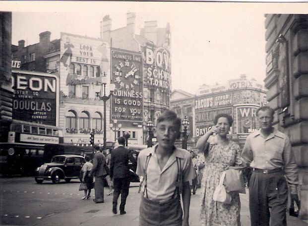 Piccadilly Circus, London, probably 1949