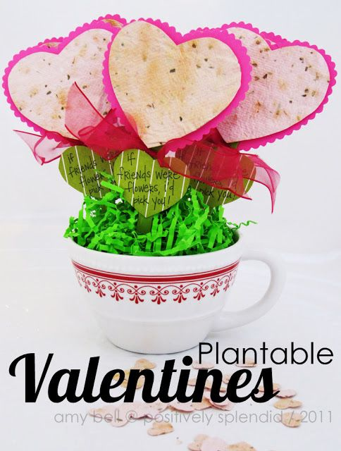 These handmade wildflower seed paper valentines can be planted in the spring. What a fun, green idea, and so perfect for making with children! #valentines #crafts #kids