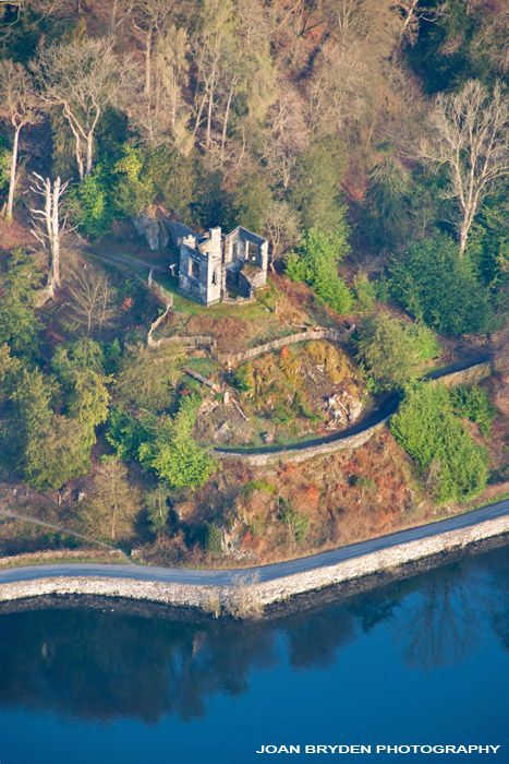 Aerial view of Claife Viewing Station, Windermere in the Lake District National Park, Cumbria, England