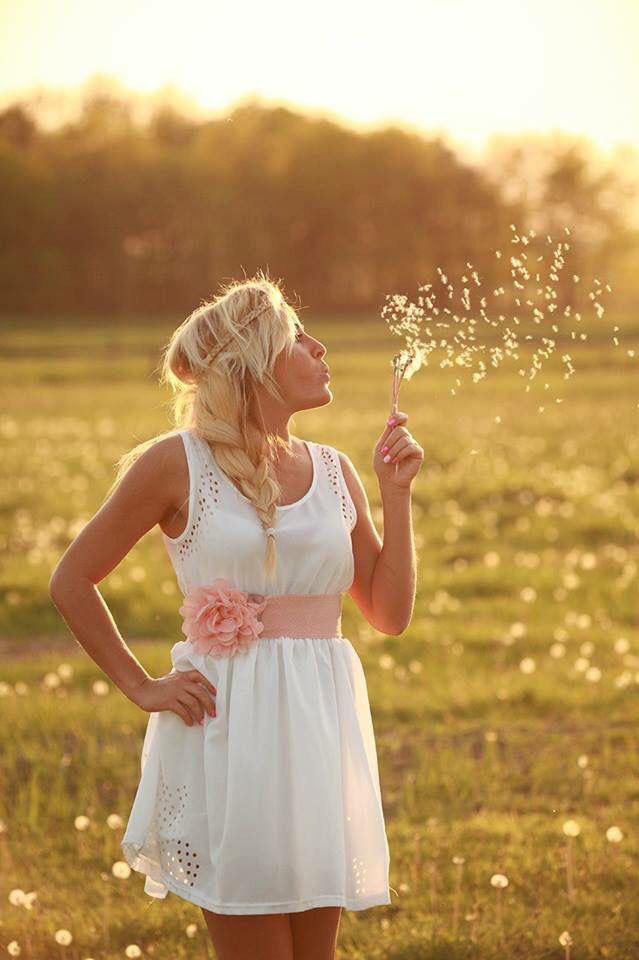 #Adri #spring #hippie #white dress #dandelion girl #meadow #back light