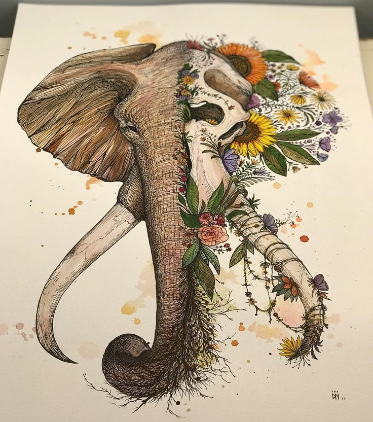 Elephant illustration by Dino Nemec