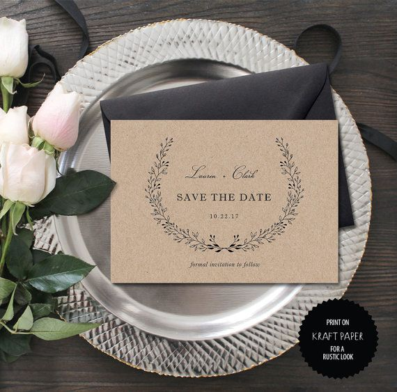 Rustic Save the Date Template  Wedding Save the by TheprintableCo
