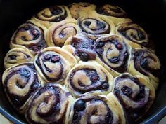 Blueberry cinnamon rolls   made in a dutch oven...