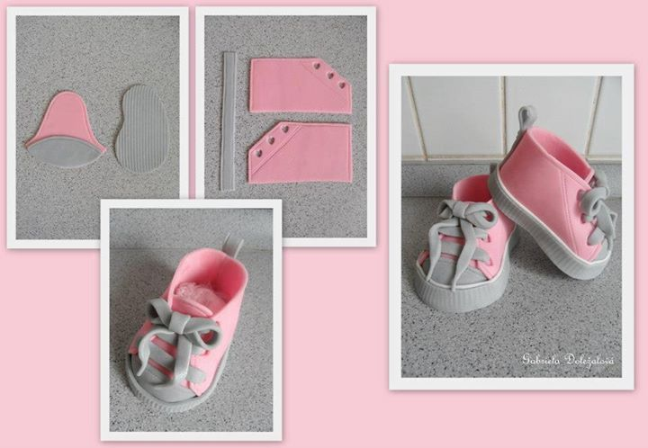 Decorated Converse Sneakers   Cake decorating: Baby shoe / converse