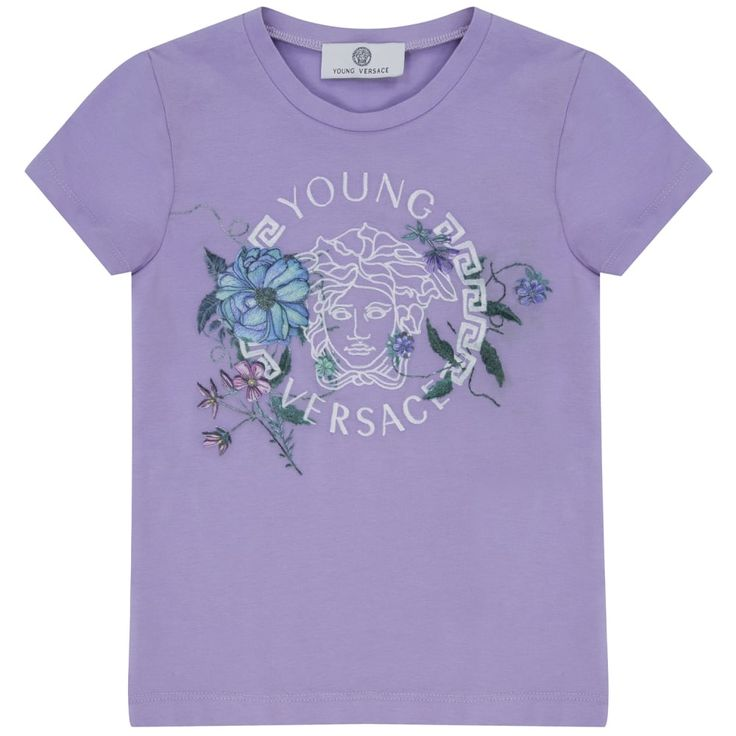 Young Versace Girls Purple T-Shirt with Floral Logo