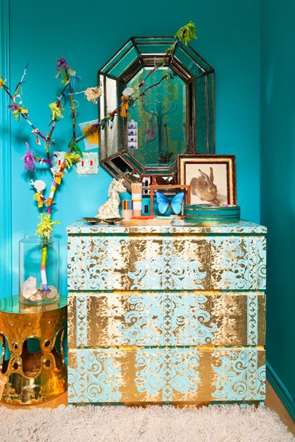 ⋴⍕ Boho Decor Bliss ⍕⋼ bright gypsy color & hippie bohemian mixed pattern home decorating ideas - aqua walls