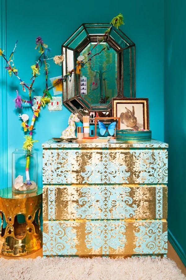 ⋴⍕ Boho Decor Bliss ⍕⋼ bright gypsy color & hippie bohemian mixed pattern home decorating ideas - aqua walls