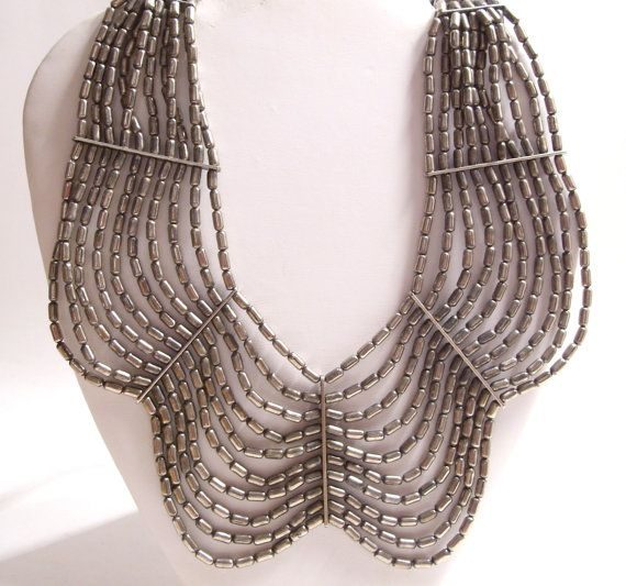 Egyptian Style Collar Bib Necklace in Silver Tone Pewter Color