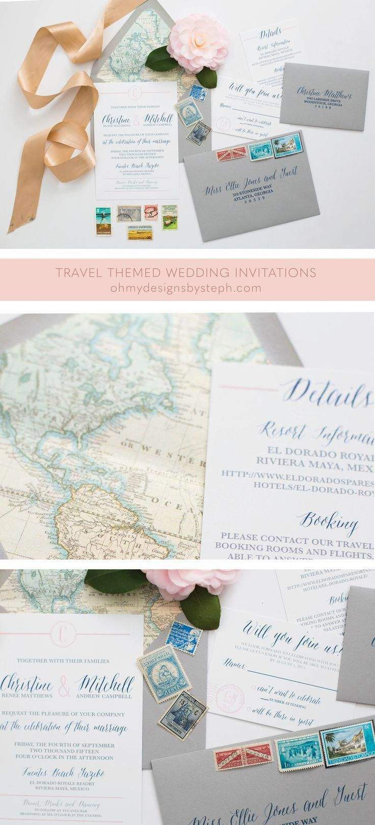 Travel Map Wedding Invitation Destination Wedding Invitations
