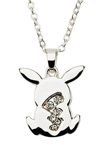Pikachu Modern silver plated pendant with clear gems!!  buy now $17.50 Everyone's favorite Pokemon character Pikachu! This Pikachu necklace is silver plated with clear gems.Officially LicensedSilver Plated, 316L Stainless SteelPikachu Tail Clear Gem Pendant with Chain