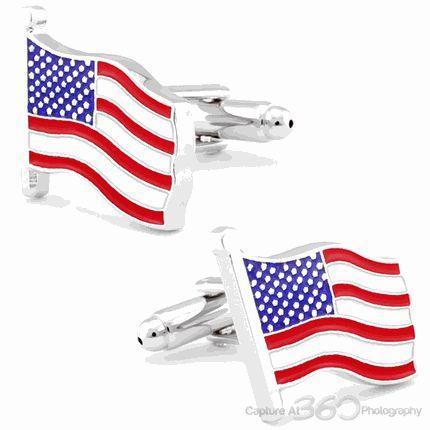 WAVING AMERICAN FLAG SILVER CUFFLINKS by Cufflinksman
