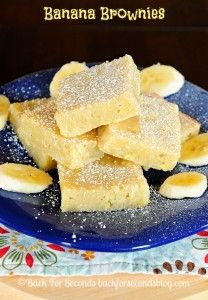 Banana Brownies...super easy and delicious. Like banana bread but with white chocolate. (May 2016)