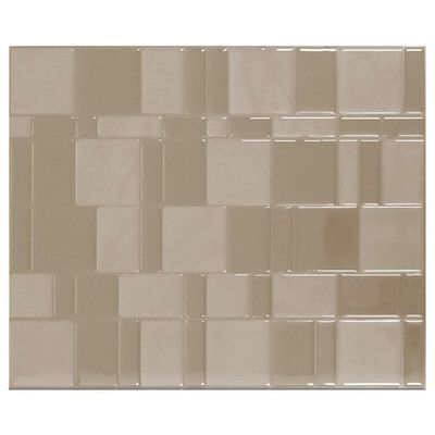 "Smart Tiles Tango Titane 11.55"" x 9.64"" Peel & Stick Wall Tile in Silver & Beige"