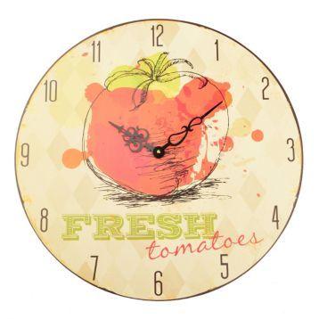 White Argyle Fresh Tomatoes Clock | Kirklands