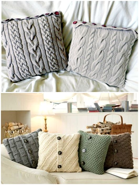 Стильные вязаные чехлы на подушки.