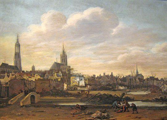 Gemälde von Daniël Vosmaer, Delft nach der Explosion des Pulvermagazins 1654, Prinsenhof Delft.   http://www.claudoscope.eu/