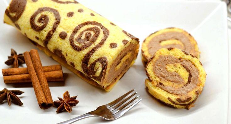 Nutellás-mézeskalácsfűszeres piskótatekercs recept: Karácsonykor isteni, hangulatos desszert lehet ez a mézeskalács fűszerrel feldobott piskótatekercs! Persze bármilyen krémmel megtölthető, akár klasszikus piskótatekercsnek is, mintázva.