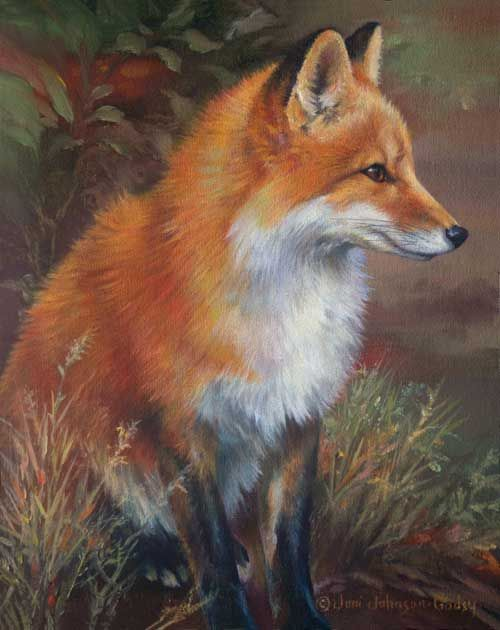 """Almost Autumn"", Red Fox, oil on mounted linen, by Joni Johnson-Godsy"