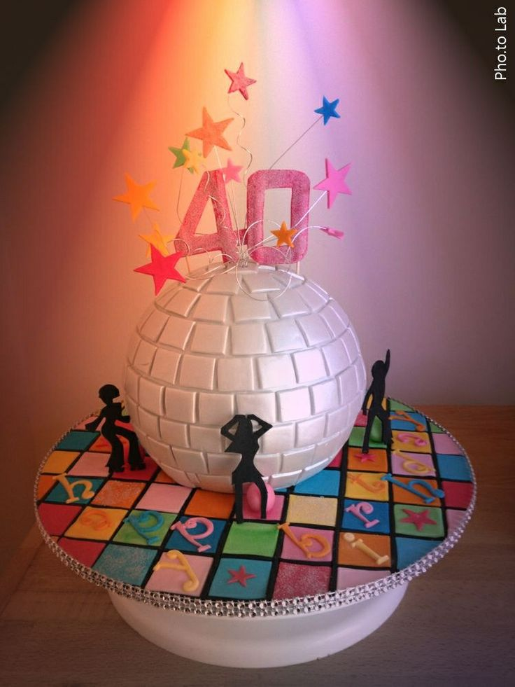 40th 80 S Disco Ball Themed Cake Disco Party Disco