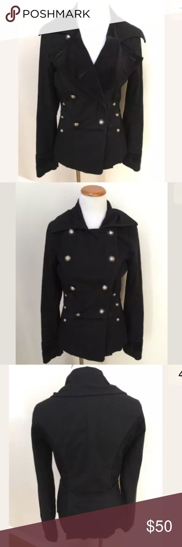 Twill 22 Anthropologie Black Military Jacket Twill 22 Anthropologie Black Double Breasted Military Jacket Coat Petite. Excellent condition! May want to re-enforce the buttons. Clean and comes from smoke free home. Questions welcomed! Anthropologie Jackets & Coats