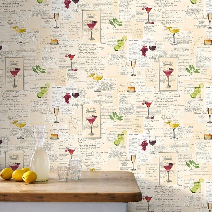 Cocktails Multicoloured Wallpaper by Graham and Brown