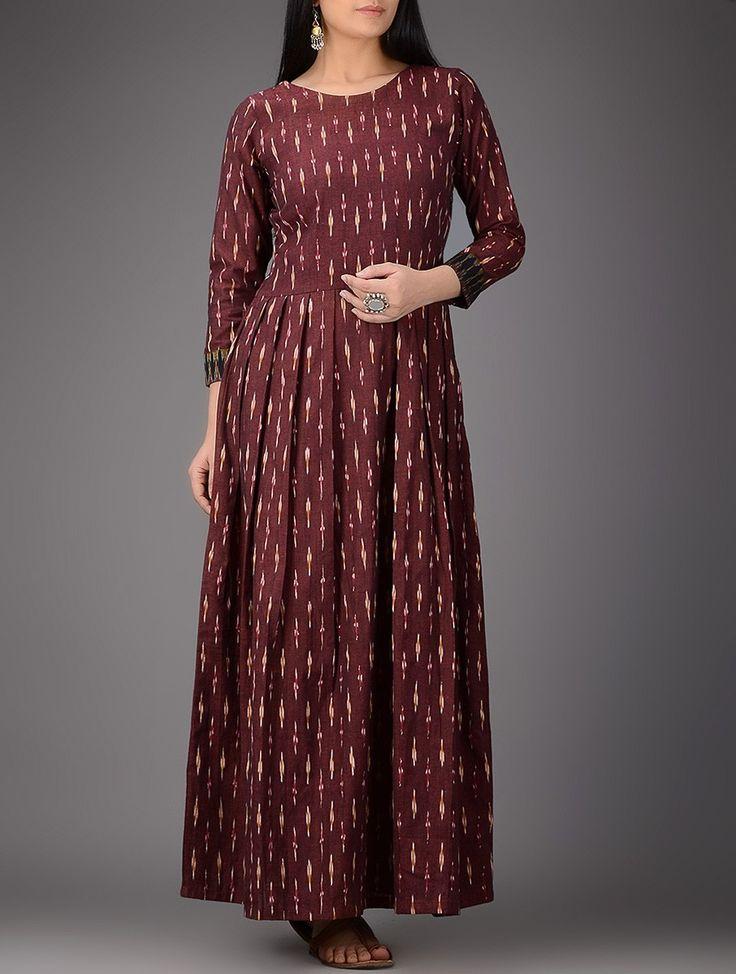 Maroon-Ivory Ikat Pleated Cotton Maxi Dress on Jaypore.com