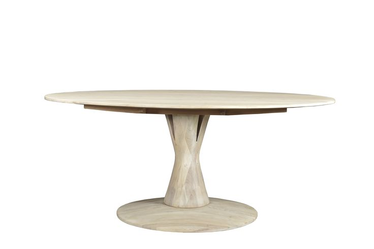 """Aspen Round Dining Table - White Wash Dimensions: WDH"""": 71 x 40 x 30 Made with Acacia Wood White Wash Finish"""