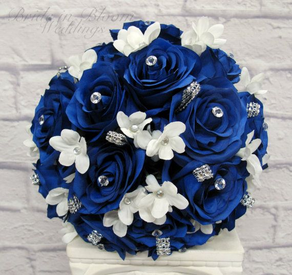 Royal blue rose Wedding Bouquet Silk bridal flowers