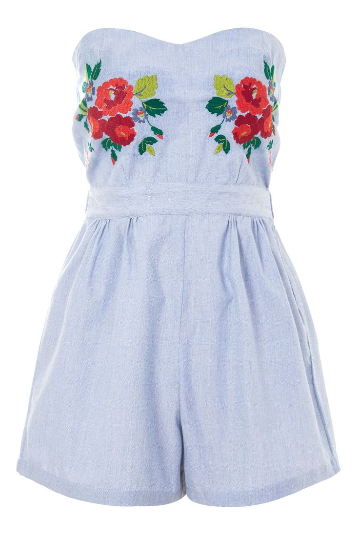 **Bandeau Embroidered Playsuit by Glamorous Tall - Playsuits & Jumpsuits - Clothing - Topshop