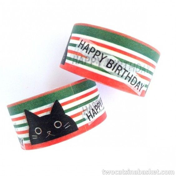 Washi Tape Happy Birthday Cat - TWO CATS IN A BASKET