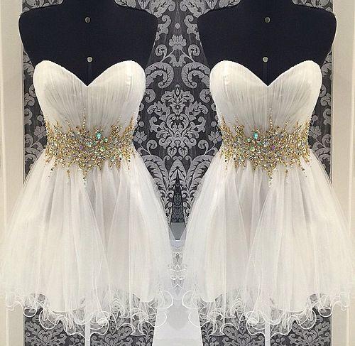 Custom Made A Line Short Sweetheart White Prom Dress