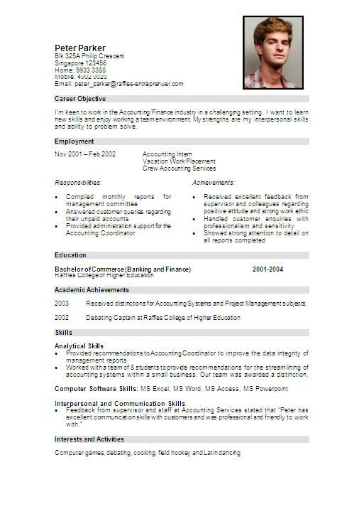 best cv examples fashion intern